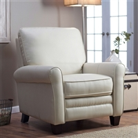 Bonded Leather Club Chair Recliner Soft Cream