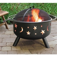Stars Moon Sky Black Steel Fire Pit Bowl