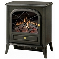 Black Traditional Style Electric Space Heater With Fireplace Flame