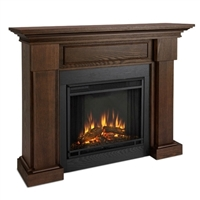 Traditional electric fireplace in chestnut oak wood finish