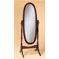 Full Length Floor Mirror - Oval Cheval - Solid Wood With Cherry Finish