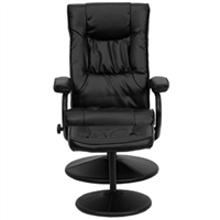 Black Faux Leather Recliner Chair with Ottoman