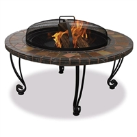 Marble And Slate 34 inch Fire Pit with Copper Accents