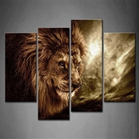 Lion With Mane 4 Panel Canvas Wall Art Picture Print