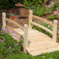 4 foot Garden Bridge with Railings in Weather Resistant Wood