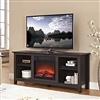 Wood TV Stand with Fireplace and Heater Insert electric Espresso Finish