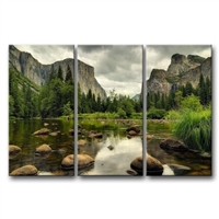 Yosemite Mountain Stream 3 piece wall art framed print