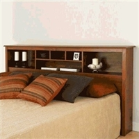 King Size Storage Headboard in Cherry Wood Finish