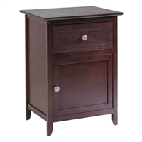 Antique Walnut Wood Finish Bedroom Nightstand - End Table Cabinet