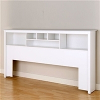King Size Stylish Bookcase Headboard in white.