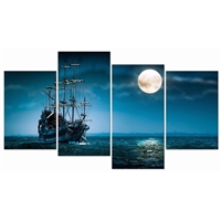 Canvas Wall Art - Full Moon Ocean Ship