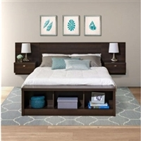 King Size Floating Headboard with Nightstand - Espresso