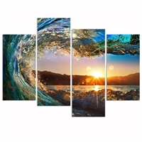 Sunset Wave Ocean Surf 4 panel Canvas Wall Art Picture Print