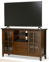 Tall Solid Wood TV Console for TV's up to 60 inch Medium Brown