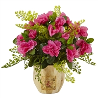 Nearly Natural Artificial Flowers - Azalea And Maiden Hair With Planter