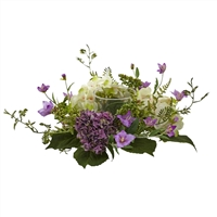 Nearly Natural - Hydrangea Berry Candelabrum Floral Centerpiece