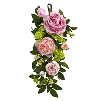 24 Inch Peony And Hydrangea Teardrop Floral Arrangement