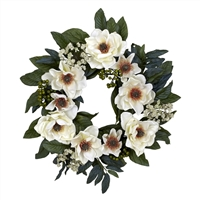 22 inch Magnolia Floral Wreath by Nearly Natural