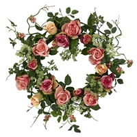 20 inch Rose Floral Wreath by Nearly Natural