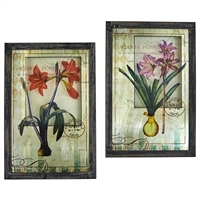 Framed French Floral Art Prints - Set of Two