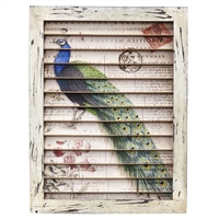 Peacock Window Shutter Wall Art