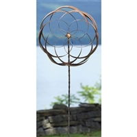 Handcrafted Copper Plated Metal Wind Spinner - Flower Pinwheel - Garden Stake