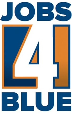 Jobs4Blue Logo - VCS Intelligent Workforce Management Extra Duty Service for Police. Blue Orange and White logo with number 4