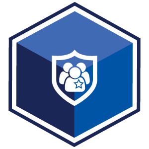 VCS Intelligent Workforce Management Icon for Extra Duty Billing. Blue Hexagon with symbol of badge containing figures.