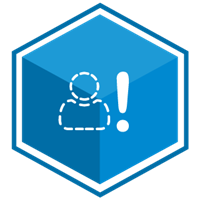 VCS Intelligent Workforce Management icon representing the Staff Selector module. Blue hexagon with dotted figure and exclamation point symbols