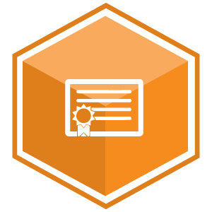 VCS Intelligent Workforce Management icon representing the Learning & Professional Development module. Orange hexagon with certificate symbol