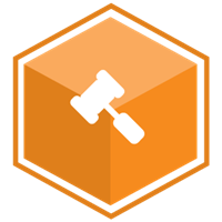 VCS Intelligent Workforce Management icon representing the Vacation & Shift Bidding module. Orange hexagon with mallet symbol