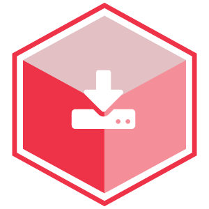 VCS Intelligent Workforce Management icon representing the Workloads module. Red hexagon with download symbol