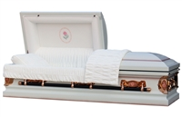 White Silver Rose Casket