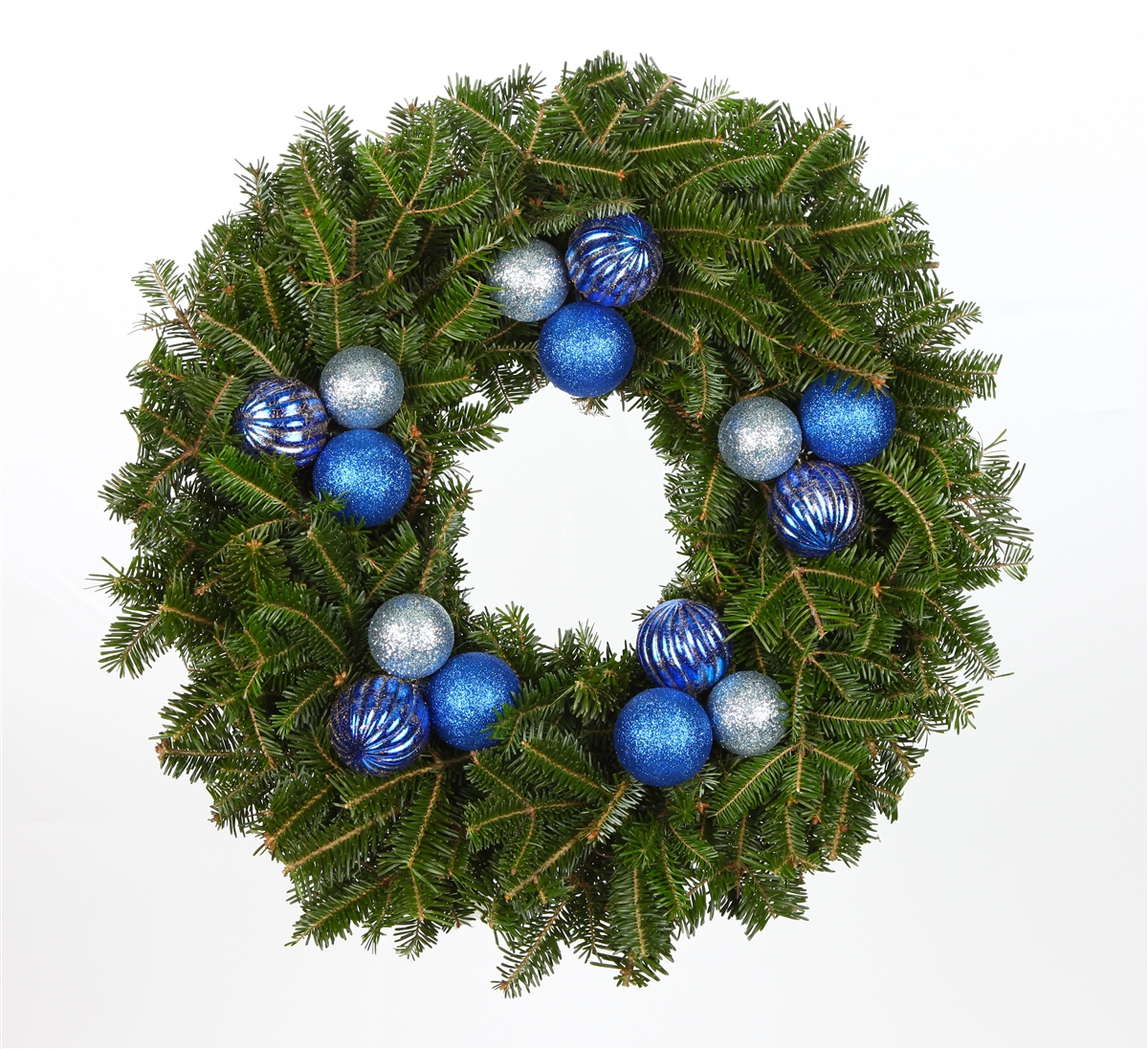 blue ornaments real fraser fir wreath fresh cut live - Blue Christmas Wreath