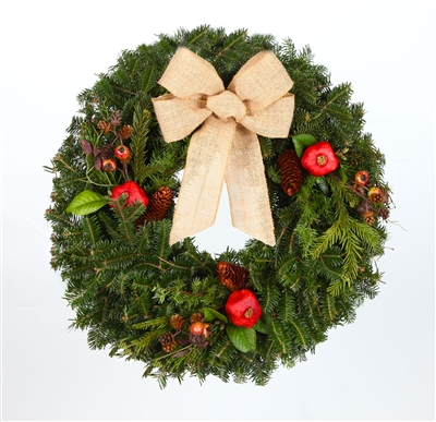 24 in. Country - Real Fraser Fir Christmas Wreath (Fresh Cut, Live)