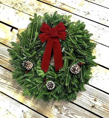 24 in. Red Bow - Real Fraser Fir Christmas Wreath (Fresh Cut, Live)