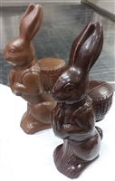 Bunny with Basket on Back in Belgian Dark Chocolate approx 1.5 lbs.