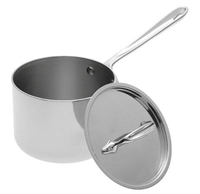 6 x 4 1/8 2 QT All-Clad® Stainless Sauce Pan With Lid, cookware made in USA