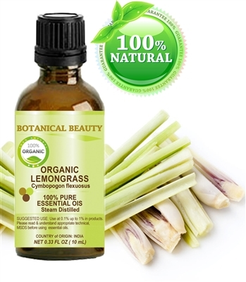 Botanical Beauty ORGANIC LEMONGRASS ESSENTIAL OIL