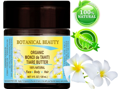 Organic Monoi De Tahiti Tiare Butter Unscented Botanical Beauty
