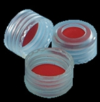 Screw Cap, ABC, PP, 10mm, Natural w/white PTFE/Blue Sil Liner