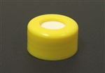 Screw Cap, 9mm, YELLOW PP, w/Septa (PTFE/Silicone)