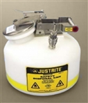 Justrite® 2-gallon PE can, SS / PTFE® disconnect