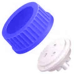 "Bottle Cap for GL-45, 1L Bottles, for 1/8"" OD tubing, BLUE"