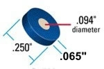 "PEEK Frit, 0.5um, .094"" Diam, .062"" Thick, .250"" O.D., Blue Ring"