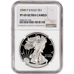 2000-P American Silver Eagle Proof - NGC PF69 UCAM - Large Label
