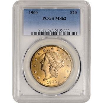 1900 US Gold $20 Liberty Head Double Eagle - PCGS MS62