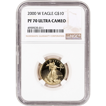 2000-W American Gold Eagle Proof 1/4 oz $10 - NGC PF70 UCAM