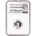 2000 W American Platinum Eagle Proof 1/10 oz $10 - NGC PF70 UCAM ALS Label