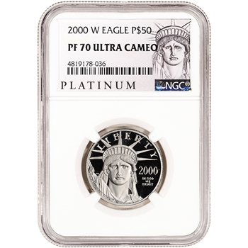 2000-W American Platinum Eagle Proof 1/2 oz $50 - NGC PF70 UCAM ALS Label